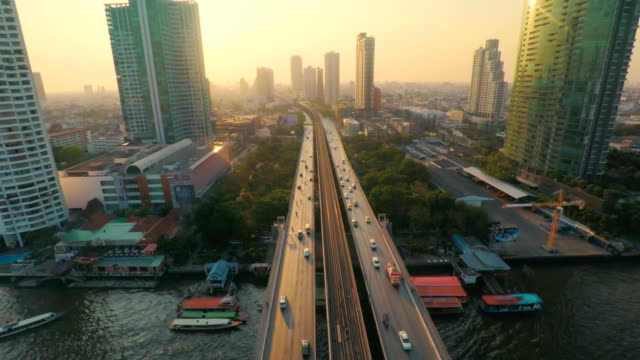 Aerial Bangkok Riverside Downtown at sunset​ video