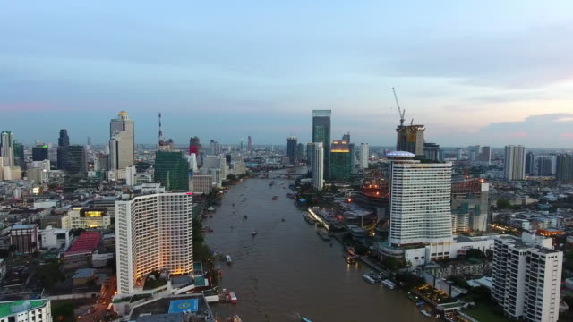 Aerial Bangkok Riverside Downtown at sunset video