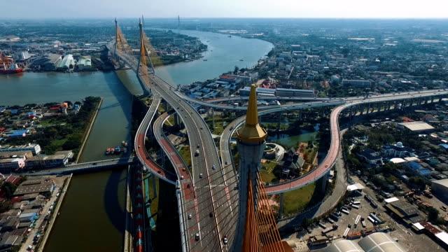 aerial bangkok riverside downtown at sunset - fiume chao phraya video stock e b–roll