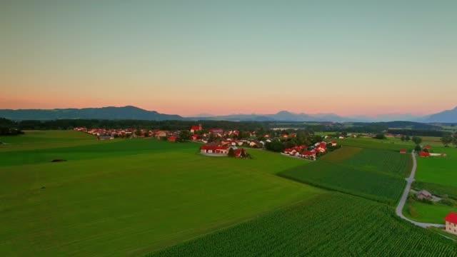 Aerial: Bavarian landscape in summer at sunset video