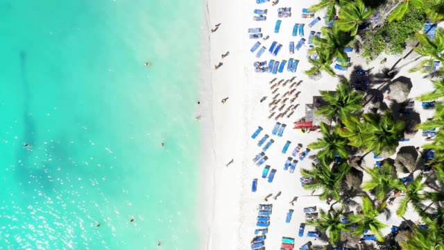 Luftstrandblick auf einen weißen Sandstrand, den tropischen Karibikstrand, das karibische Meer – Video