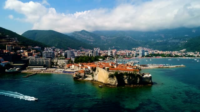 aerial beautiful panoramic view at old town in budva. - viaggio d'istruzione video stock e b–roll