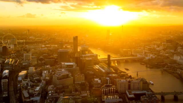 aerial beautiful sunset  London city