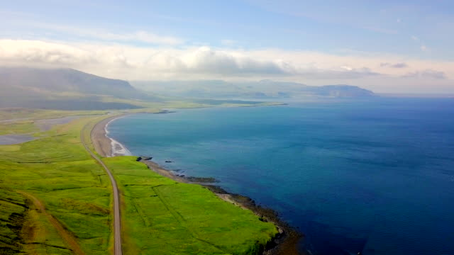 Aerial Beautiful view Coast of Western Iceland video