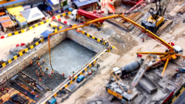 Aerial Big Construction Site Working 4K Time Lapse Tilt-Shift Aerial Big Construction Site Working 4K Time Lapse Tilt-Shift civil engineering stock videos & royalty-free footage