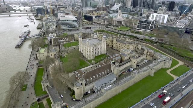 Aerial Bird Eye View Tower of London Historical Medieval Castle video