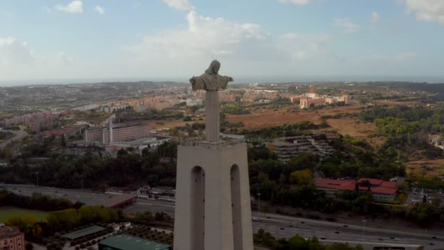 Aerial bird view of Sanctuary of Christ the King Lisbon, Portugal. Aerial bird view of Sanctuary of Christ the King in Portuguese Santuario de Cristo Rei Catholic monument and shrine dedicated to Sacred Heart of Jesus Christ. cristo redentor stock videos & royalty-free footage