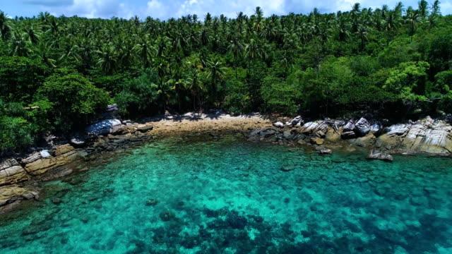 空中: 藍色瀉湖, 海灘和棕櫚樹在岸邊。 - 東南 個影片檔及 b 捲影像