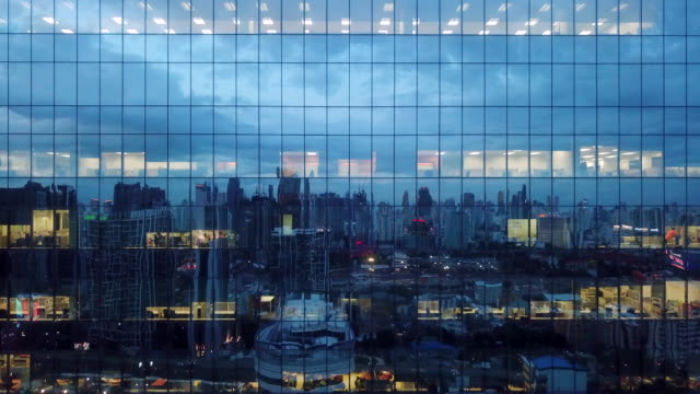 aerial building reflection at night - corporate culture stock videos & royalty-free footage
