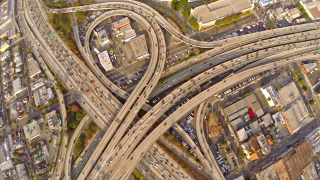 Vista aérea da Califórnia Los Angeles Freeway - vídeo