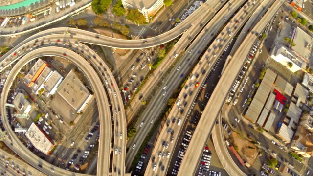 Aerial California Los Angeles Freeway video