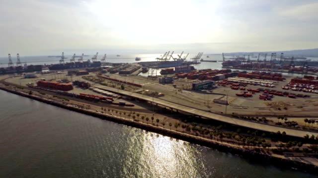 Aerial California Ocean Shipping Yard video