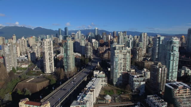 Aerial Canada Vancouver BC Aerial video of downtown Vancouver BC in Canada. vancouver canada stock videos & royalty-free footage