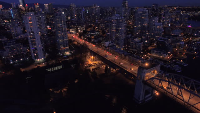 Aerial Canada Vancouver BC Aerial video of downtown Vancouver BC at night in Canada. vancouver canada stock videos & royalty-free footage