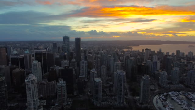 Aerial Canada Vancouver BC Aerial video of downtown Vancouver BC in Canada at sunset. vancouver canada stock videos & royalty-free footage