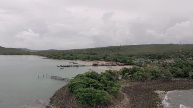 Aerial : Cape tropical rainforest rocky coast video