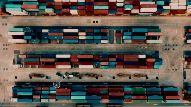 Aerial Cargo Container in port video