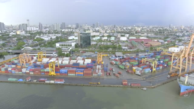 Aerial Cargo container ships video