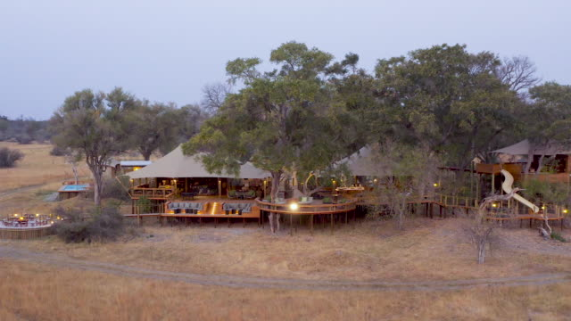 vídeos de stock e filmes b-roll de aerial circular view of tuludi safari camp at sunset, okavango delta, botswana - reserva natural