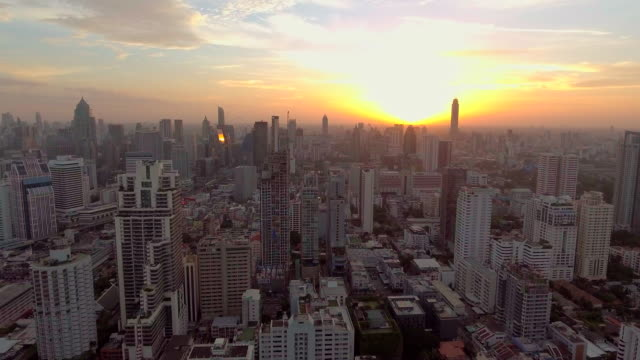 Aerial city at sunset video