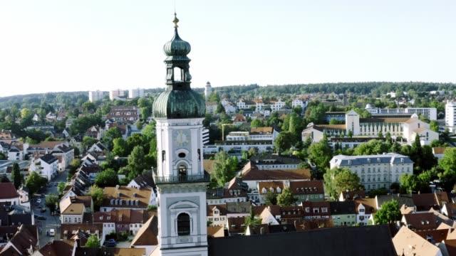 Luftansicht der Innenstadt von Freising, Bayern, Deutschland – Video