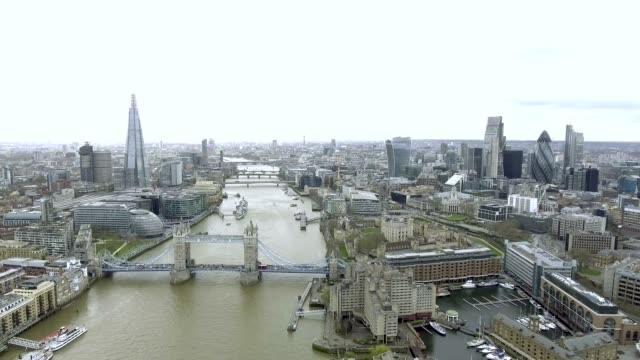 Aerial Cityscape Bird Eye View Video of London and the River Thames video