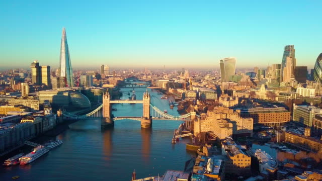 Aerial cityscape flythrough video of London and the River Thames