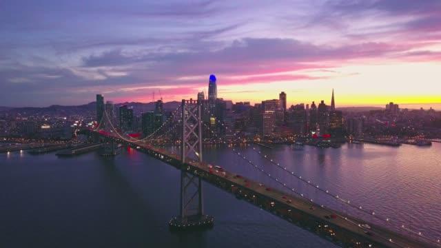 Aerial cityscape flythrough video of San Francisco