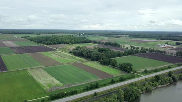 Video Aerial cityscape landscape view of farmland , Ontario, Canada