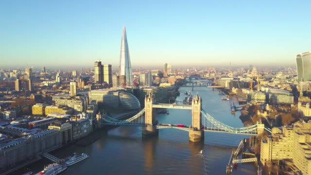 Aerial cityscape video of London and the River Thames video