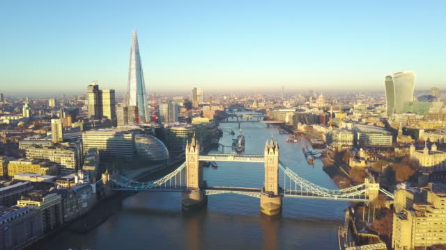 Aerial cityscape video of London and the River Thames