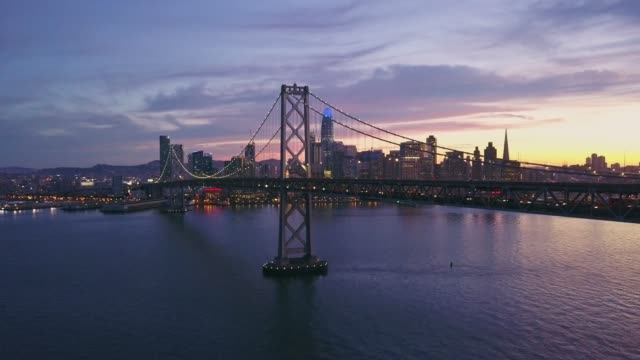 Aerial cityscape video of San Francisco at sunset