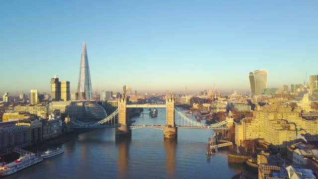 Aerial cityscape view of London and the River Thames video