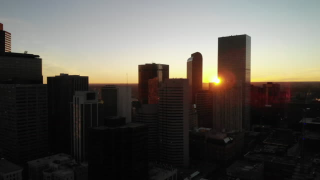 Aerial Clip of Downtown Denver at Sunrise with Skyscrapers