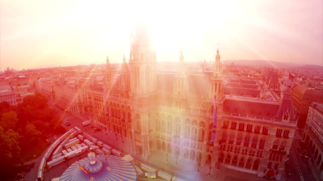 Aerial close-up Rathaus in Vienna, City Council fly over, tourism in Europe. Baroque architecture in urban world, flying over government building, travel sight seeing place in Austria video