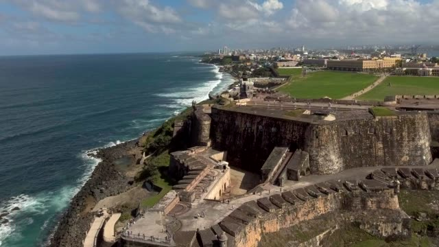 Aerial close-up shot right over El Morro fortress in Old San Juan, Puerto Rico video