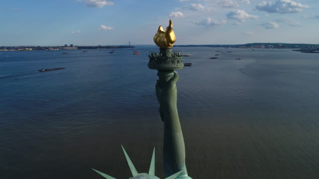 Aerial closeup Statue of Liberty