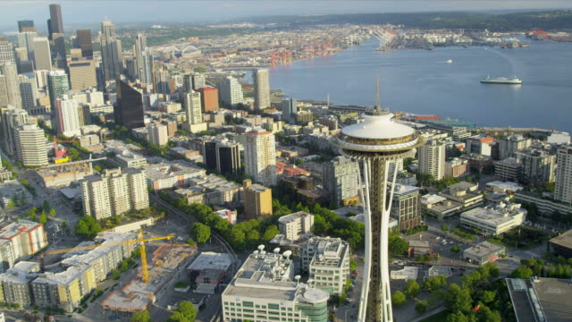 Aerial coastal view Space Needle, downtown Seattle, USA video