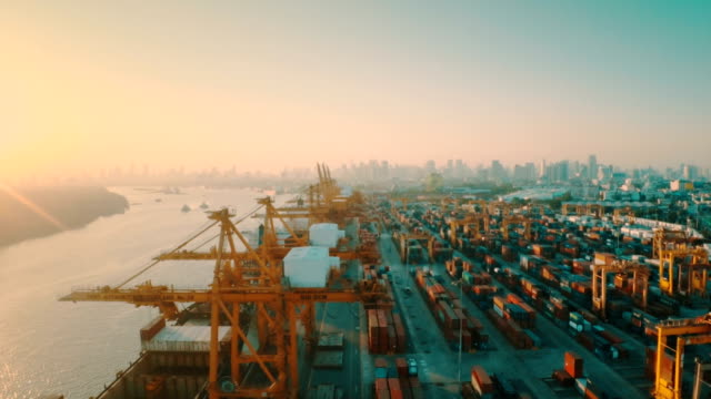 Aerial Containers Port view video