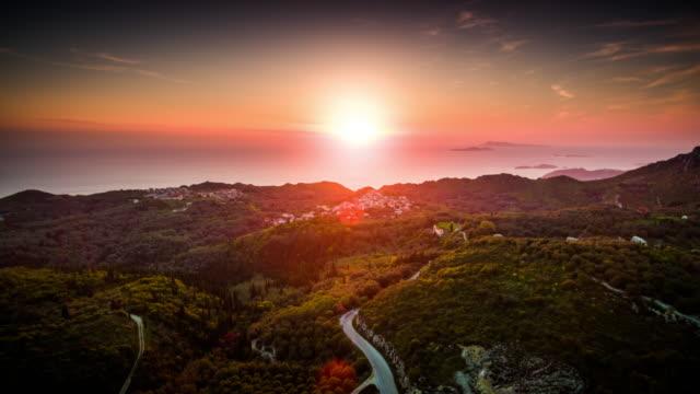 Aerial: Corfu at Sunset, Greece