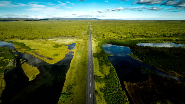 Aerial : Country Road in Iceland video