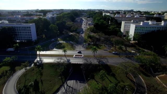 Aerial descending over intersecting roads in Brasilia