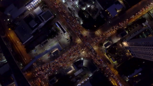 Aerial : Direct above view of Traffic city at night