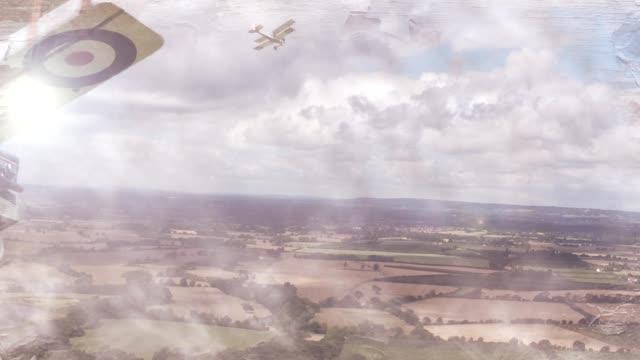 vidéos et rushes de vue aérienne de chien combattants - première guerre mondiale