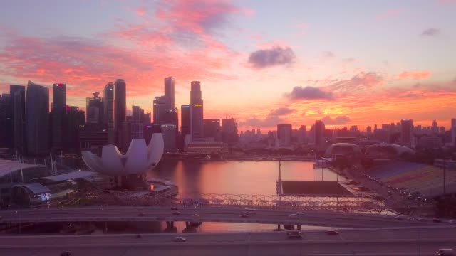 Aerial downtown Singapore at Dusk Urban Skyline, Aerial View, Building Exterior, City, Cityscape singapore architecture stock videos & royalty-free footage