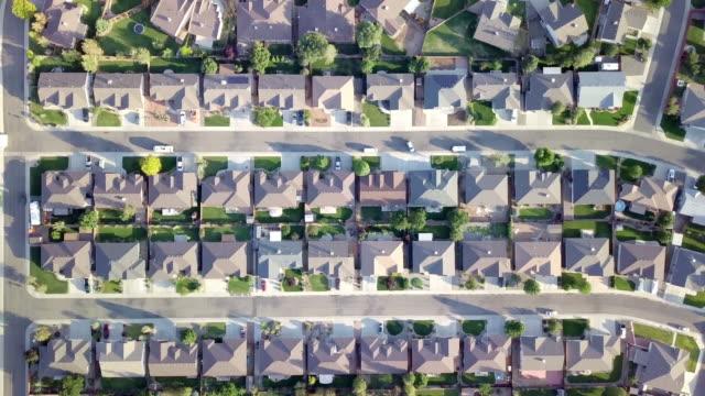 Aerial Downward looking view of a residential neighborhood