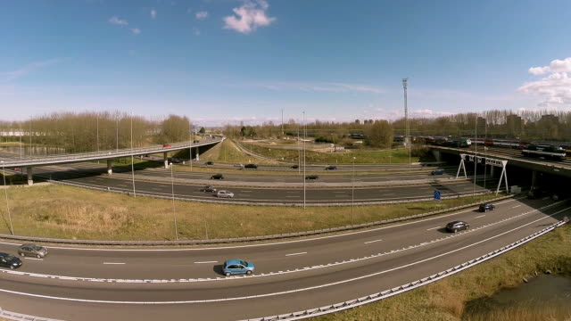 Aerial drone flight over highway video