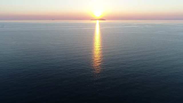 aerial drone flying beautiful sea with sunset sky video