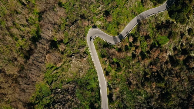 aerial. drone follows car on mountain road turns. birds eye view on a narrow sunny forest driveway. driving pleasure. 4k - беларусь стоковые видео и кадры b-roll