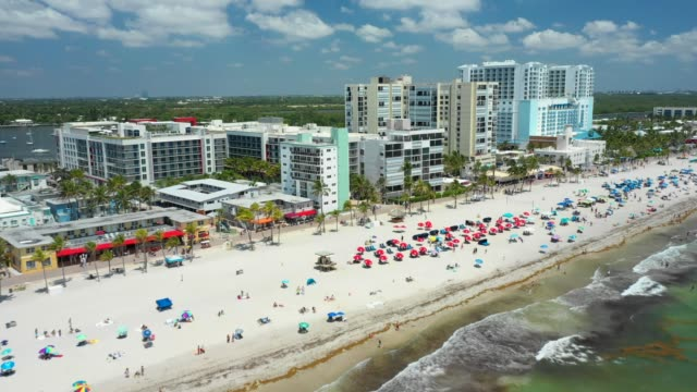 aerial drone footage hollywood beach fl memorial day weekend 2019 - memorial day weekend stock videos & royalty-free footage